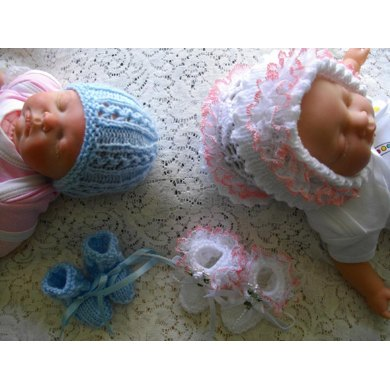 7 Premature Baby Bonnet Bootees Hat Set Knitting Pattern By