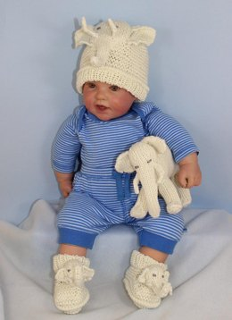 Baby Elephant Toy, Beanie and Booties Set