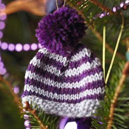 Christmas Glamour Striped Mini Beanie Decoration