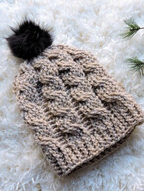 Oatmeal Cable Slouch Hat