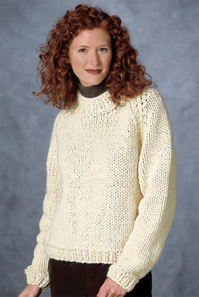 Raglan Sleeve Pullover In Lion Brand Wool Ease Thick