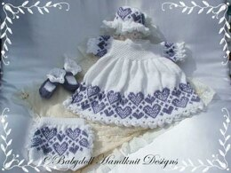 "Hearts fairisle Dress Set 16-22"" doll/newborn/0-3m baby"