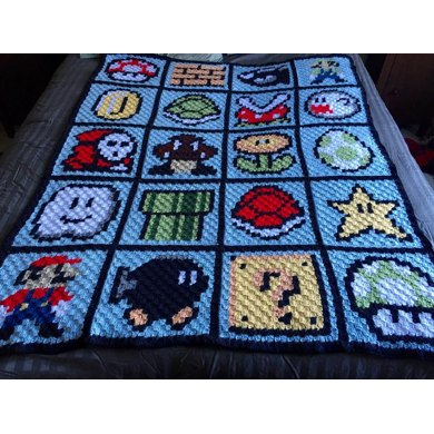 Super Mario Blanket Crochet Pattern By Lara From Level Up Nerd Apparel