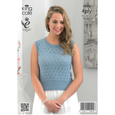 Ladies' Summer Top in King Cole Bamboo 4 Ply - 3923