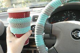 Striped Steering wheel pattern and bonus coffee sleeve