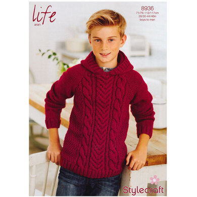 Boy's Cable Jumper in Stylecraft Life DK - 8936
