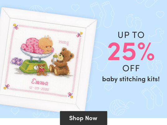Up to 25 percent off baby stitching kits!