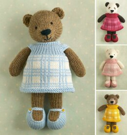 Girl bear in a plaid dress