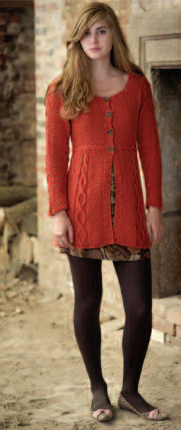 """Flared Cable Jacket"" - Jacket Knitting Pattern For Women in Debbie Bliss Cashmerino Aran - OOT09"