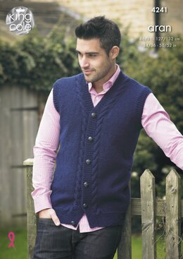 Waistcoat & Sweater in King Cole Fashion Aran - 4241 - Downloadable PDF