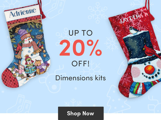 Up to 20 percent off Dimensions stitching kits!