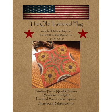 The Old Tattered Flag Sunflower Delight Punch Needle Pattern with Printed Weaver's Cloth - OTF2305 - Leaflet
