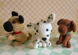 Amigurumi dogs pug, dalmation and brown lab