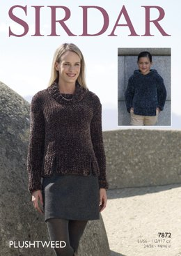 Hooded Sweater and Cowl Neck Sweater in Sirdar Plushtweed - 7872