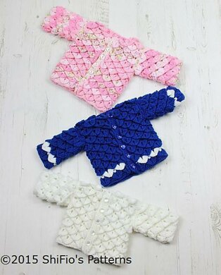 Crocodile Stitch Crochet Cardigan Pattern #311
