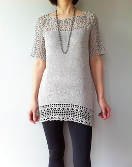 Julia - floral lace tunic (crochet+knit)