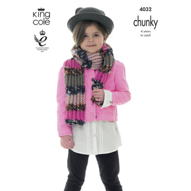 Scarf, Hat, Headband and Welly Topper in King Cole Big Value Multi Chunky - 4032