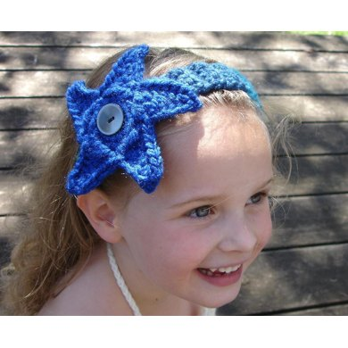 Mermaid Headband With Starfish Or Anemone Flower Crochet Pattern By