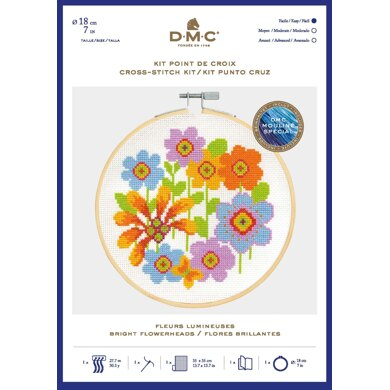 DMC Bright Flowerheads Cross Stitch Kit (with 7in hoop) - 7in