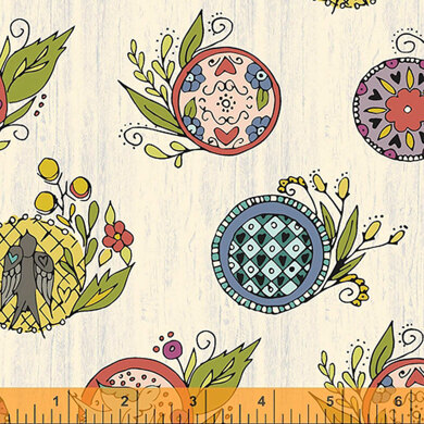 Windham Fabrics Bubbies Buttons & Blooms - Wreath Oyster