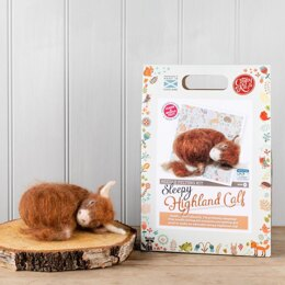 The Crafty Kit Company Sleepy Highland Calf Needle Felting Kit - 190 x 290 x 94mm