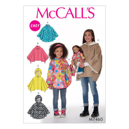 McCall's Children's/Girls'/18 Dolls' Ponchos with Stand-Up Collar or Hood M7460 - Sewing Pattern