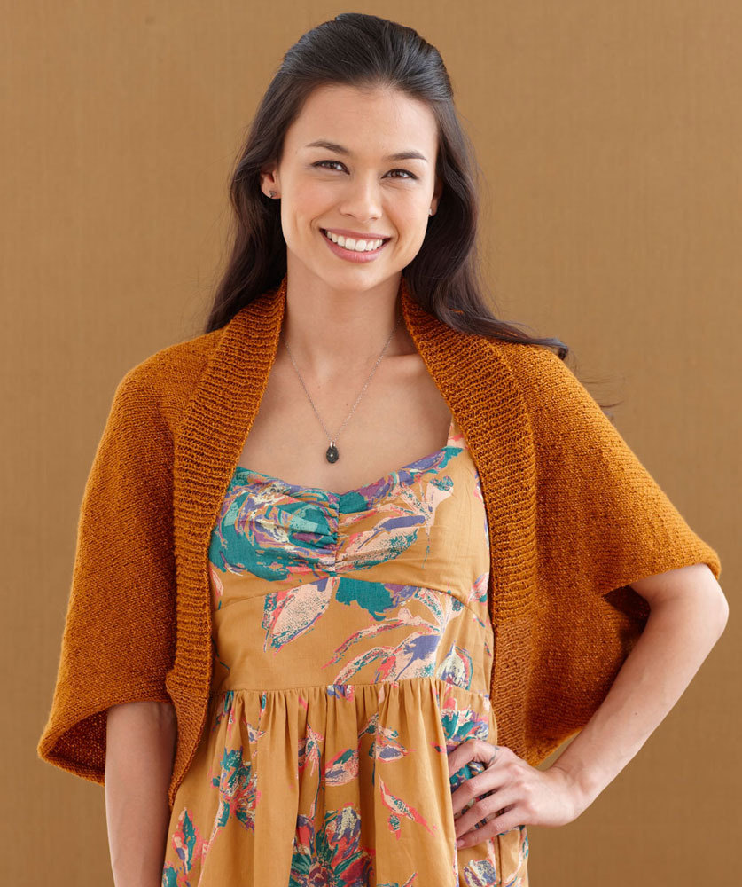 Baby Knitting Free Patterns : Burnished Bronze Shrug in Lion Brand Vannas Glamour - L0438 Knitting P...