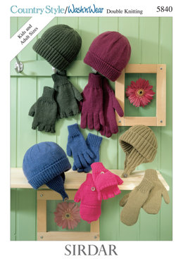 Hat and Gloves in Sirdar Country Style DK and Wash 'n' Wear Double Crepe DK - 5840