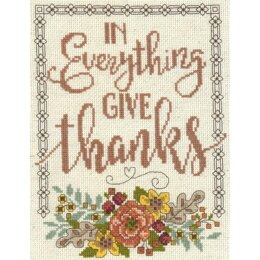 Imaginating Give Thanks Floral (14 Count) - 7in x 9in