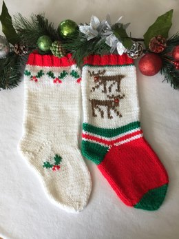 Wandering Reindeer and Holly Berry Christmas Stockings
