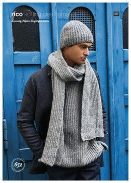 Relaxed Brioche Sweater, Scarf and Hat in Rico Luxury Alpaca Superfine Aran - 652 - Leaflet