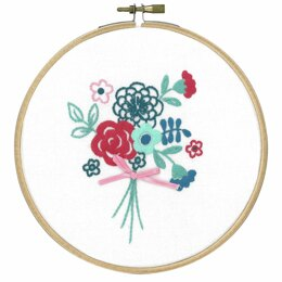 Vervaco Modern Flower Bouquet Embroidery Kit with Ring