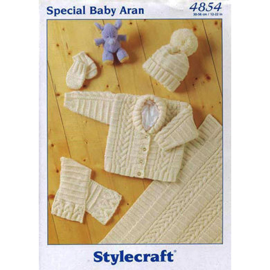 Jacket, Scarf, Hat, Mittens & Blanket in Stylecraft Baby Aran - 4854