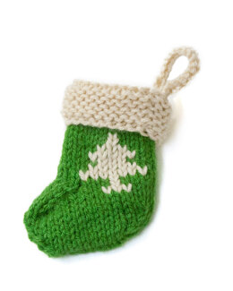Stocking Ornament With Tree in Lion Brand Vanna's Choice - L20297