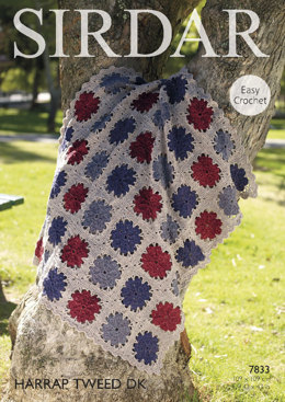 Throw in Sirdar Harrap Tweed DK - 7833- Downloadable PDF