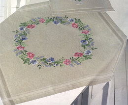 Permin Pink and Mauve Flowers Tablecloth Embroidery Kit