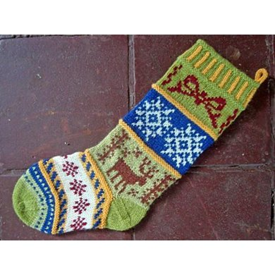Mix It Up Christmas Stocking Stranded Colorwork Knitting Pattern By