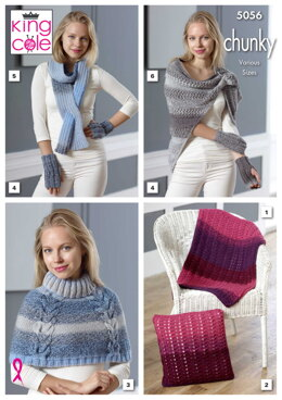 Lap Blanket, Cushion, Shoulder Cover, Fingerless Gloves, Thread Through Scarf & Triangle Top in Carousel Chunky - 5056 - Downloadable PDF