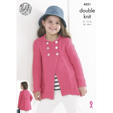 Cardigans in King Cole Bamboo Cotton - 4321 - Downloadable PDF