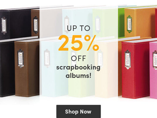 Up to 25 percent of selected scrapbooking albums!