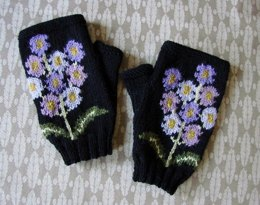 Auricula floral fingerless mitts