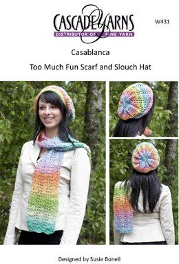 Too Much Fun Crocheted Scarf and Slouch Hat in Cascade Casablanca - W431