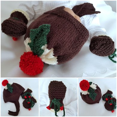 Christmas Pudding Baby Hat Mittens Knitting Pattern By Precious