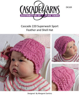 Feather and Shell Hat in Cascade 220 Superwash Sport - DK169