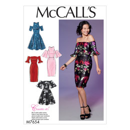 McCall's Misses'/Miss Petite Dresses with Mix-and-Match Shoulder, Sleeve, and Skirt Variations M7654 - Sewing Pattern