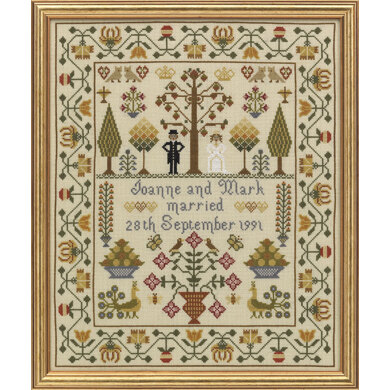 Historical Sampler Company Wedding Sampler Cross Stitch Kit - 33cm x 39cm