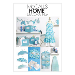 McCall's Apron Ironing Board Cover Organizer Bins Hanger Cover Clothespin Holder Banner and Sc