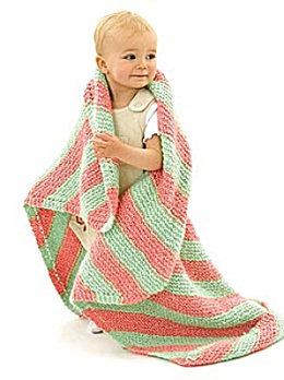 Knit Bright Stripes Baby Blanket in Lion Brand Homespun - 10141AD