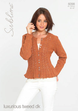 Woman's Cardigan in Sublime Luxurious Tweed DK - 6098 - Downloadable PDF