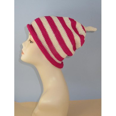 Simple Stripe Roll Brim Topknot Slouch Hat
